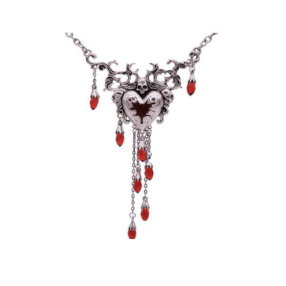 Blood Dripping Skull Heart Necklace