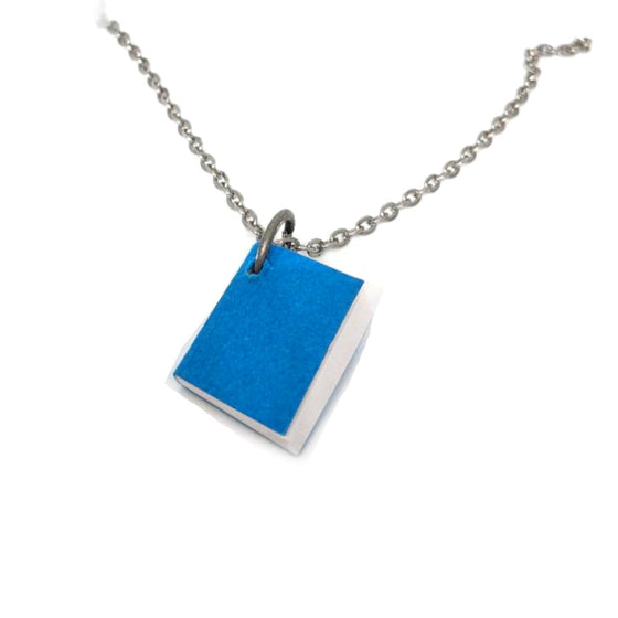Mini Blue Journal Book Necklace
