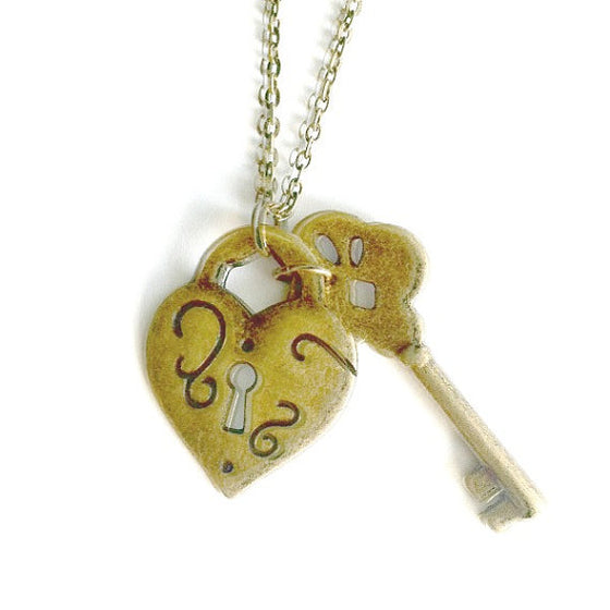 brass heart lock and key necklace