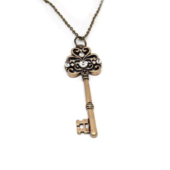 Brass Rhinestone Key Necklace