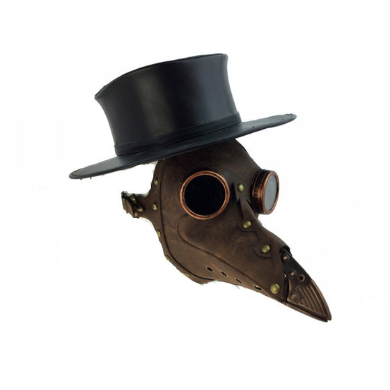 Brown Leather Plague Dr. Mask With Goggles