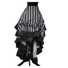Gray Striped Steampunk Layer Bustle Skirt