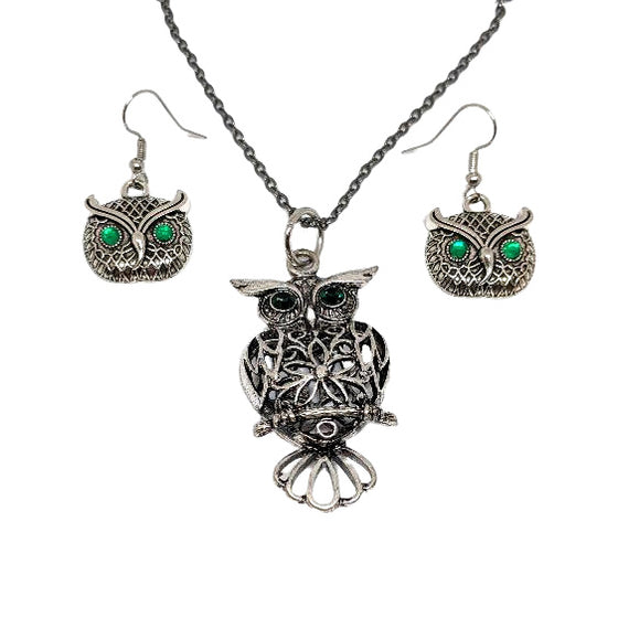 Green Eye Owl Earring and Necklace Set