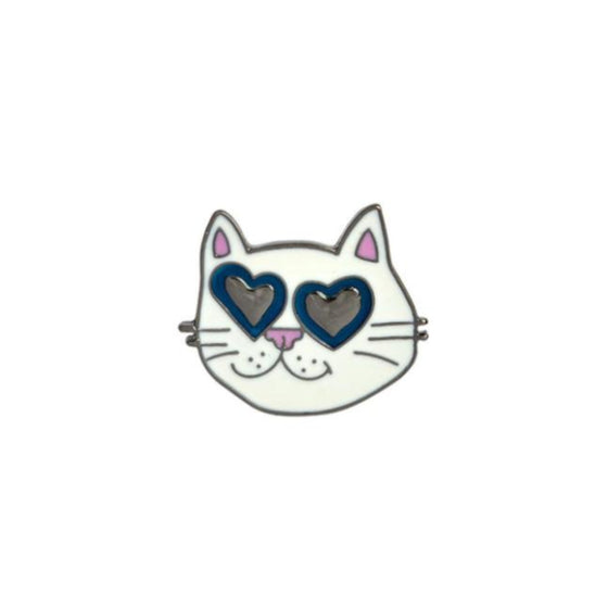 Heart Eye Cat Tack Pin