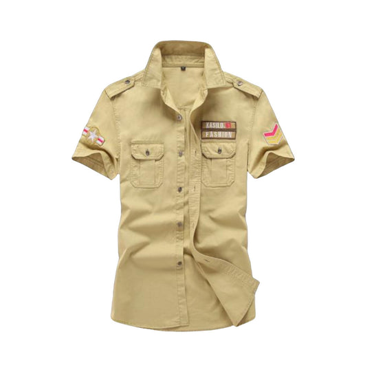 Short Sleeve Military Shirt Khaki