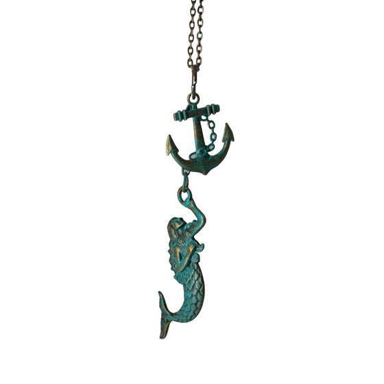 Brass Mermaid Necklace with Anchor