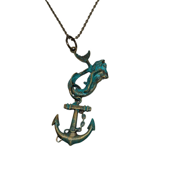 Mermaid Hook with Anchor Necklace