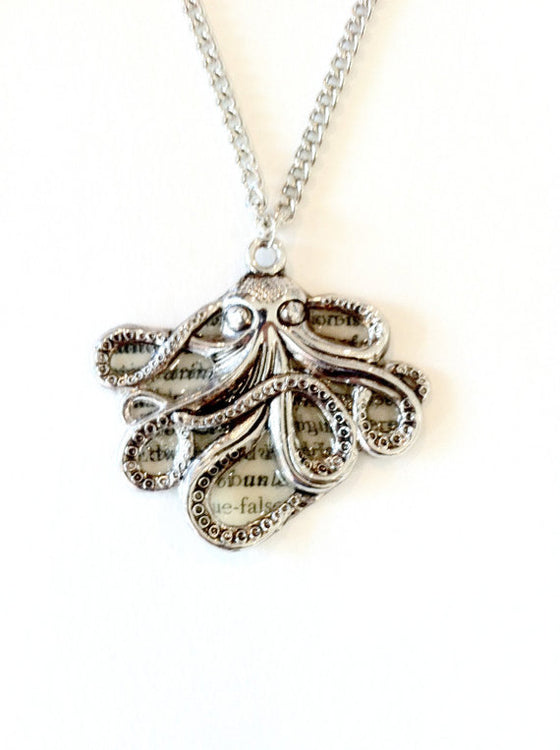Silver Octopus Text Necklace