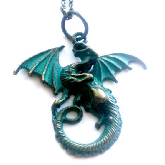 Patina Dragon Necklace