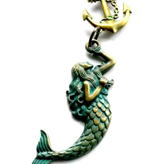 Mermaid Hanging from Anchor Necklace