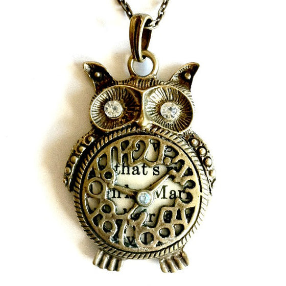 owl Clock work Necklace