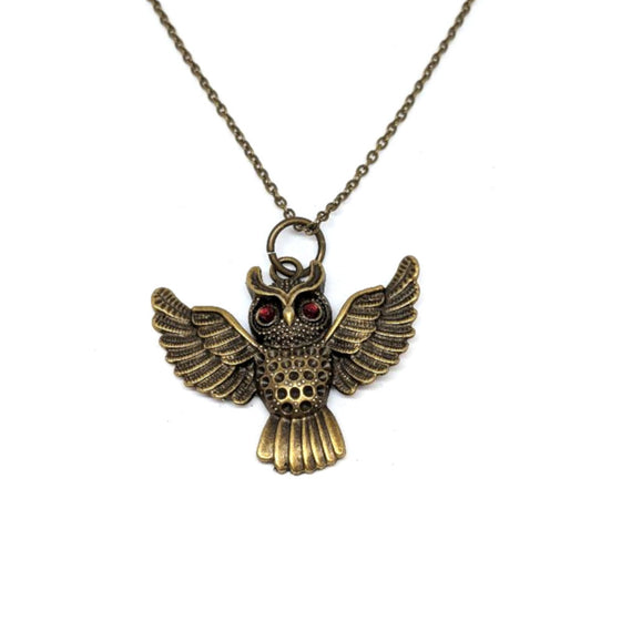 Owl Red Eye Spread Wings Necklace