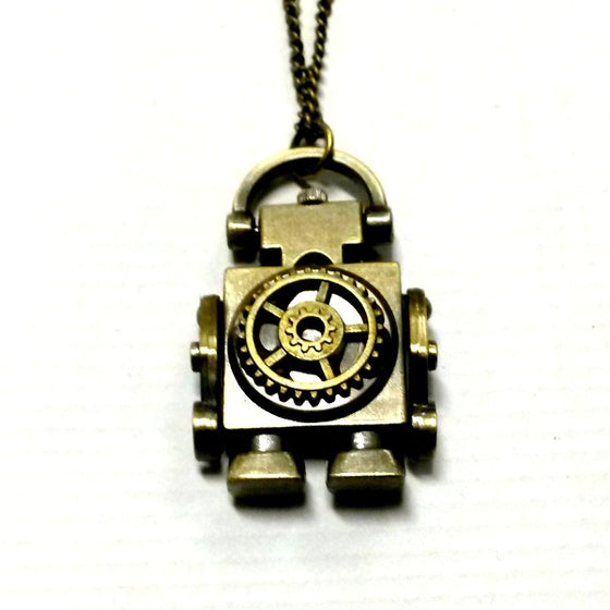 Robot Clock Necklace