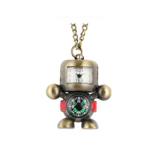 Robot Watch Compass Necklace