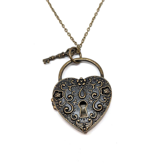 Brass Scrolled Heart Locket Necklace