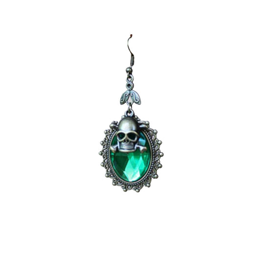 Green Jewel With Brass Skull And Bones Earrings