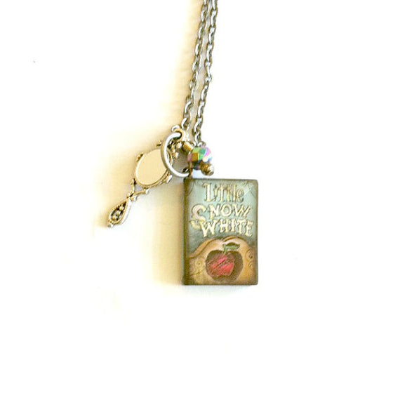 snow White, Mini book Necklace