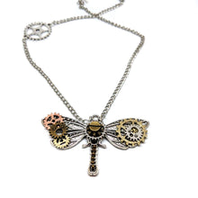 Steampunk Dragonfly Gear Necklace