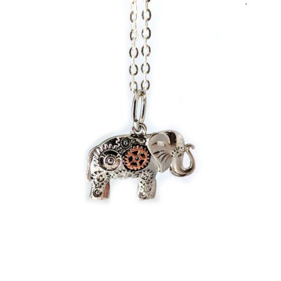 Elephant with Gears Necklace