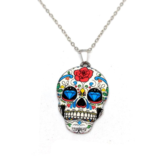 Multi-Color Sugar Skull With Flowers