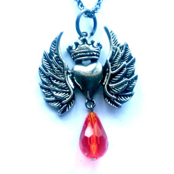 Winged Heart Red Crystal Necklace