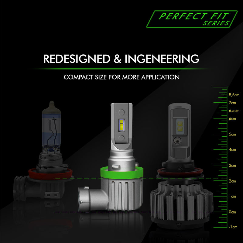 H8 / H9 / H11 Perfect Fit Series LED Headlight Bulbs 8000 Lumens