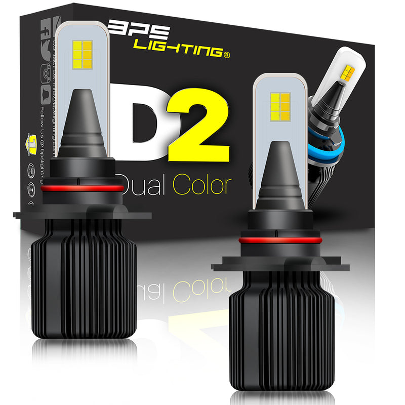 D2 Series Dual Colors LED Headlight Bulbs 8000 Lumens