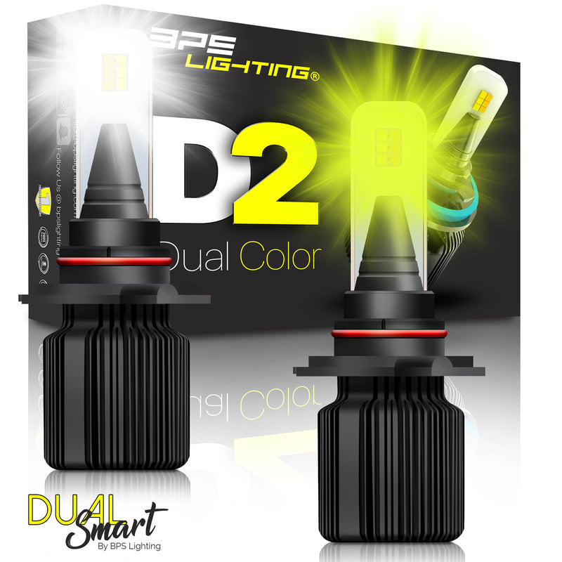 H10 / 9140 / 9145 D2 Series Dual Colors LED Headlight Bulbs 8000 Lumens