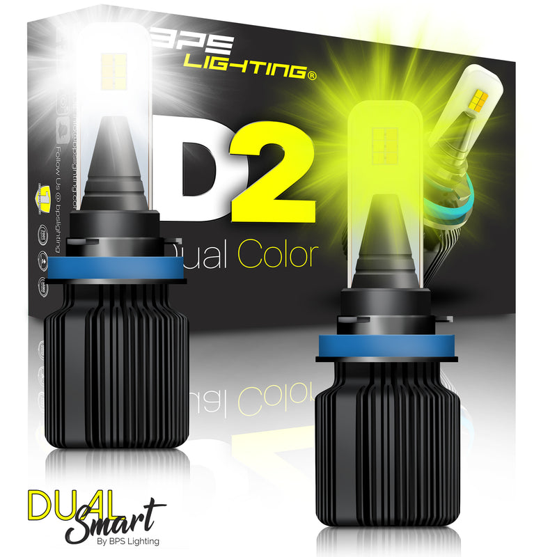 H8 / H9 / H11 D2 Series Dual Colors LED Headlight Bulbs 8000 Lumens