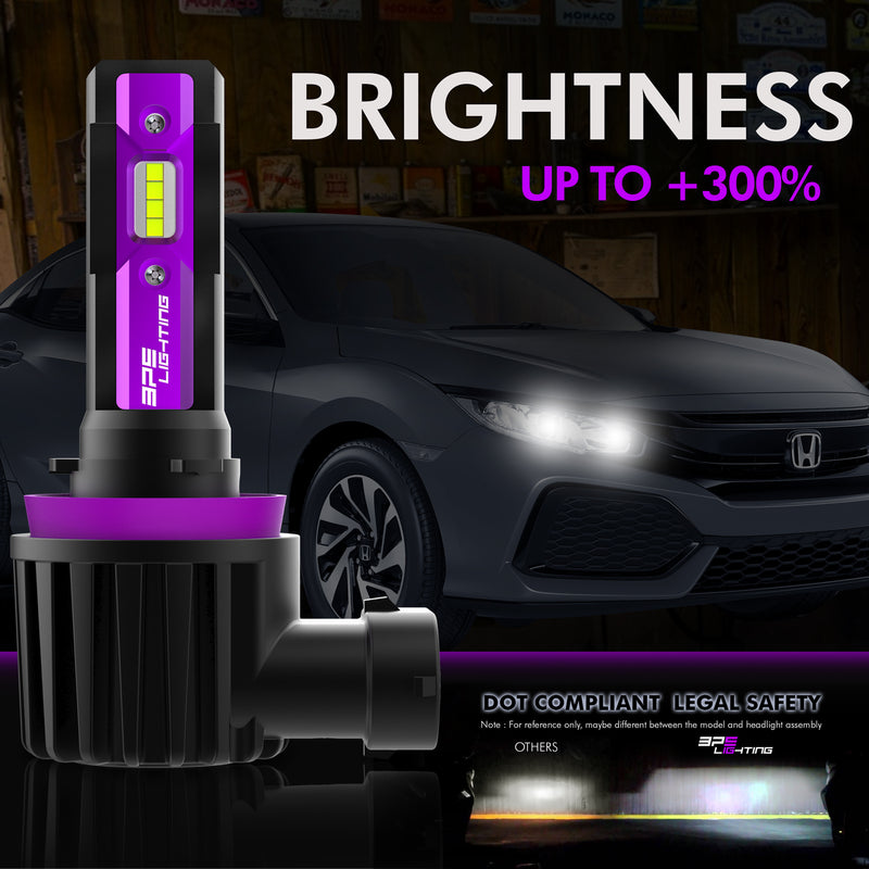 H8 / H9 / H11 UltraV Series LED Headlight Bulbs 10000 Lumens