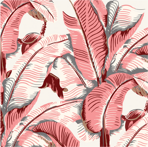 pink martinique print wallpaper from CW Stockwell featured in the Beverly Hills Hotel