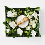wood wick gold candle and gardenia gift box