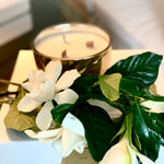 wood wick gold candle and gardenia box