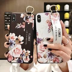 Rose Flowers Wrist Strap phone Cases For iphone 11 pro MAX X XR XS MAX 7 8 6 6s Plus Cover  Hand Band Cases Soft TPU Relief Capa