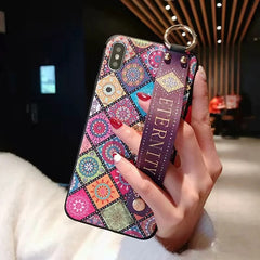 Wrist Strap Soft TPU Phone Case For iphone 7 8 6 6s plus Case For iphone X Xs max XR Vintage Flower Pattern Holder Case
