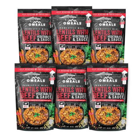 OMEALS Lentils with Beef 6 pack
