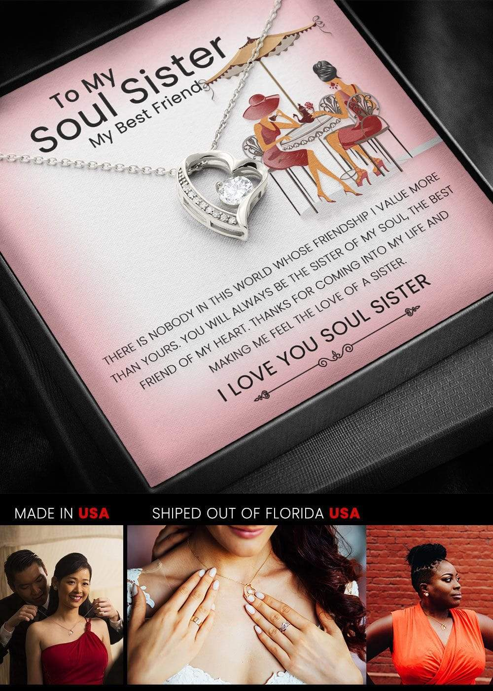 To My Best Friend, My Soul Sister Glamorous Heart Pendant Necklace