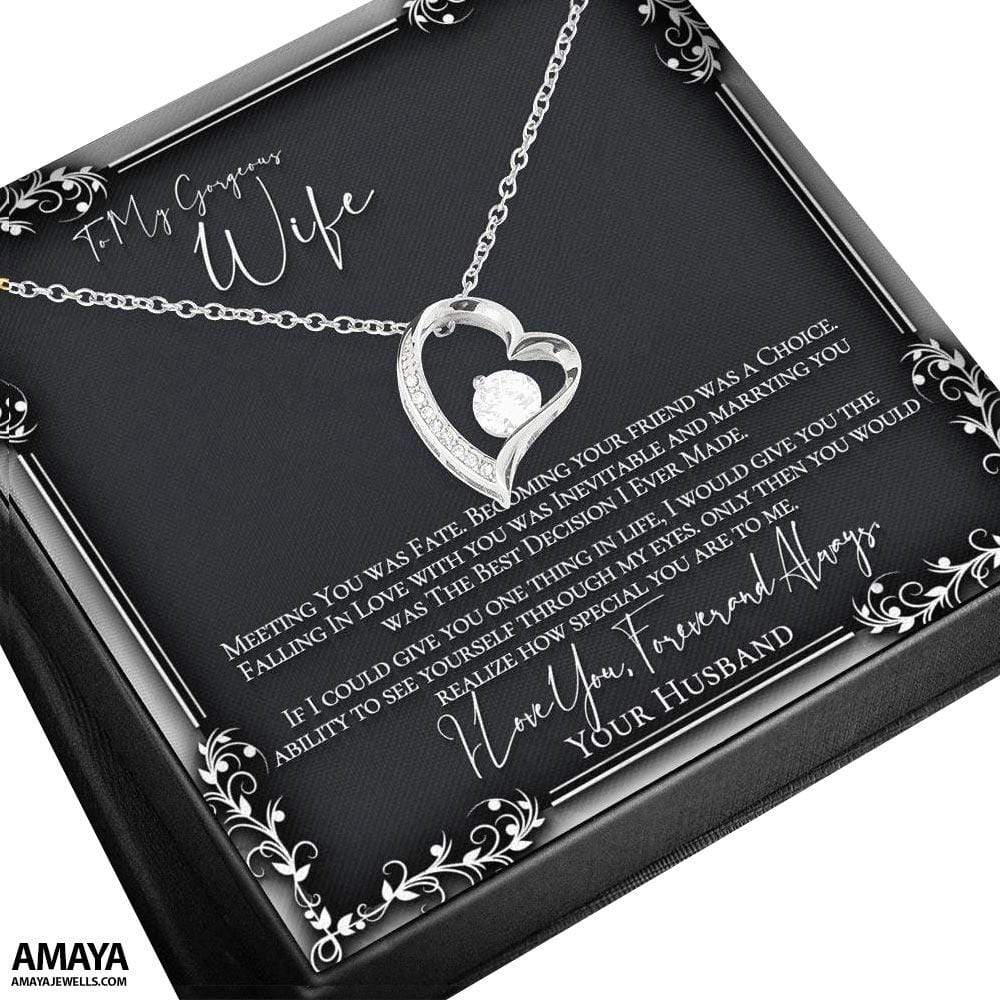 To My Wife - Falling In Love With You Was Inevitable Heart Luxury Necklace