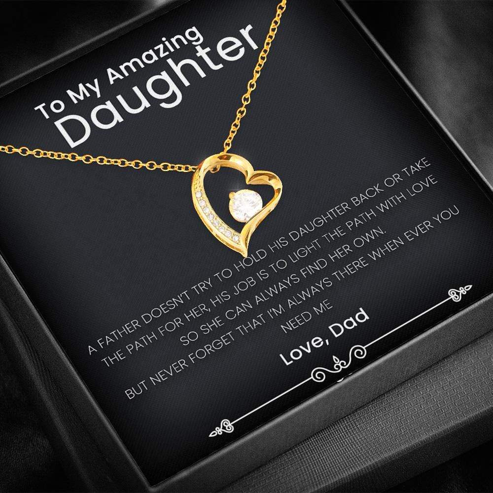 From Dad To Daughter Heart Necklace With The Message Card