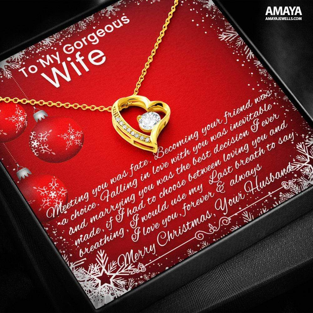 Husband To Wife Necklace - Meeting You Was Fate Merry Christmas