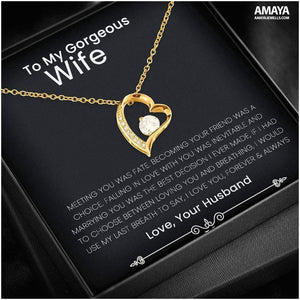 To My Gorgeous Wife - Meeting You Was Fate Luxury Forever Love Heart Necklace