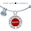 Be You And Be Happy Bangle With Pendant For Your Loved One