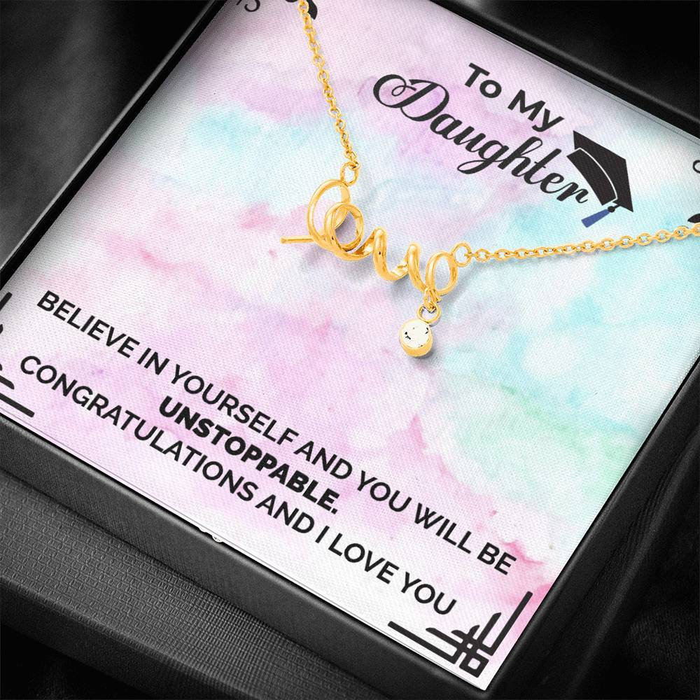 Believe In Your Self - Scripted Heart Necklace