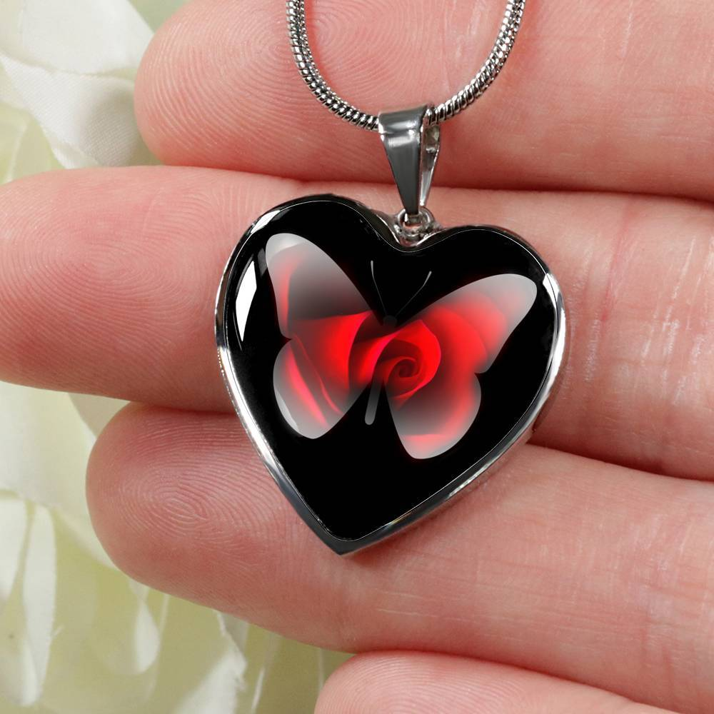 """Butterfly And The Rose"" Luxury Heart Pendant"