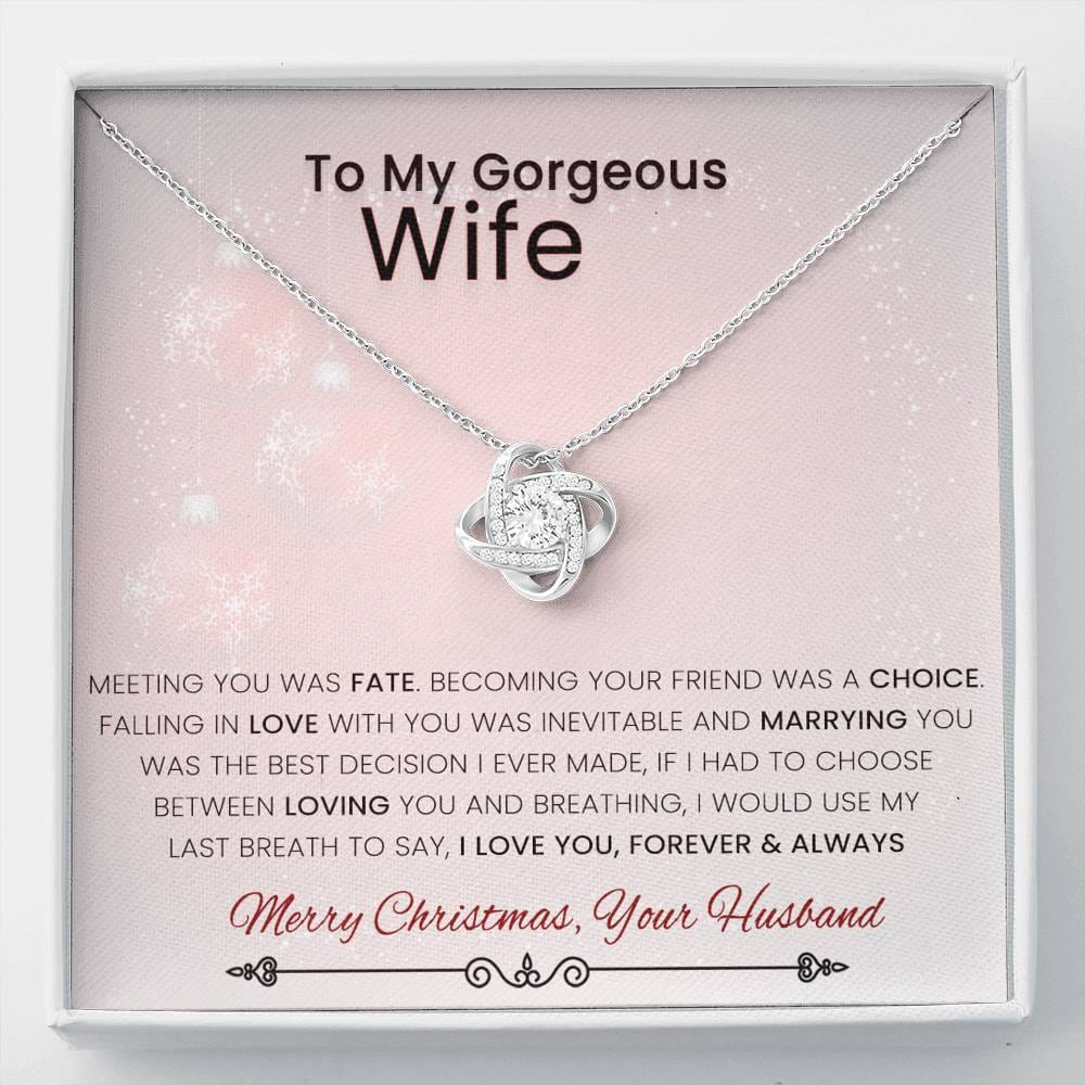 From Husband To Wife Love Knot Christmas Necklace