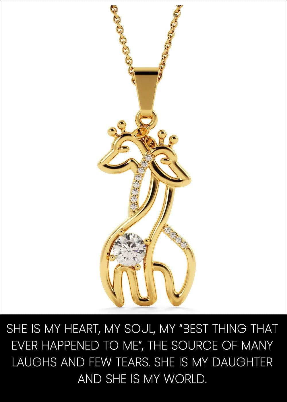 From Mom To Daughter With Love Giraffe Necklace