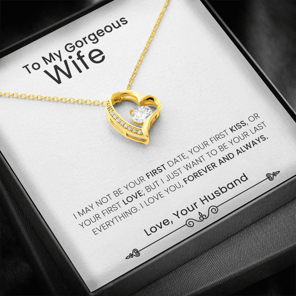 Husband To Wife Heart Necklace With The Message Card