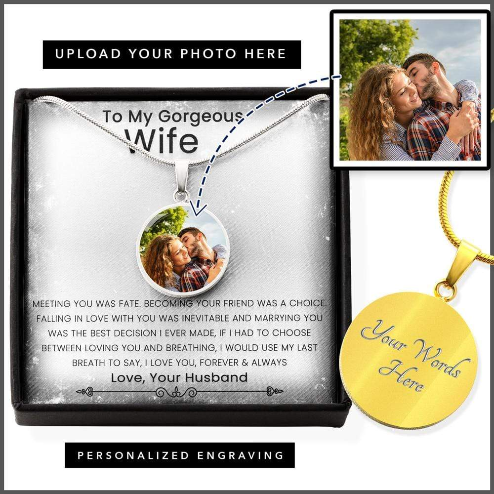 Husband To Wife Pendant Necklace With Personalized Picture And Message Card