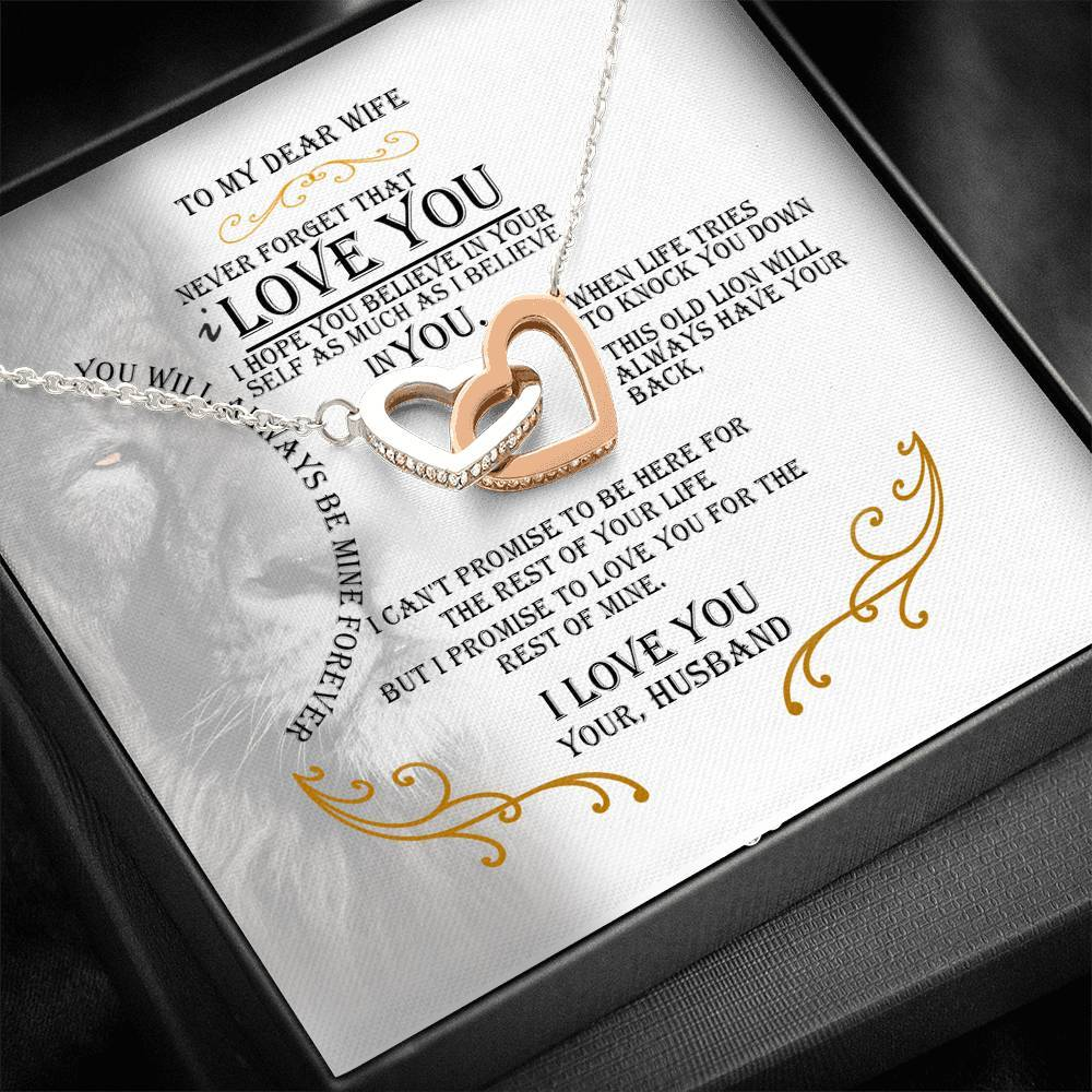 Never Forget That I Love You - Interlocking Heart Necklace For My Wife
