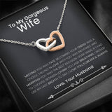 To My Wife - Interlocking Hearts Together Necklace